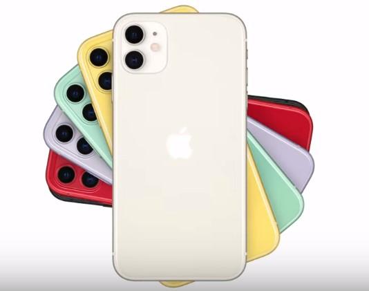 Der Screenshot zeigt fünf iPhone 11 in unterschiedlichen Farben.