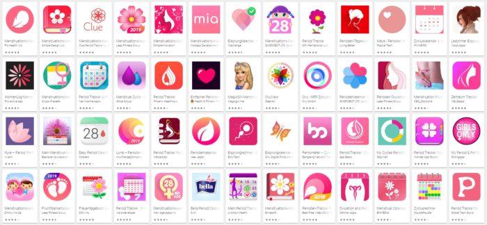 Der Screenshot zeigt eine Auflistung von Menstruations-Apps im Google Play Store.