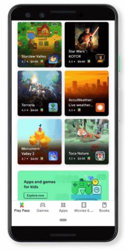 Der Screenshot der Google-Seite zeigt, wie Google Play Pass auf dem Smartphone aussehen wird. Foto: Screenshot
