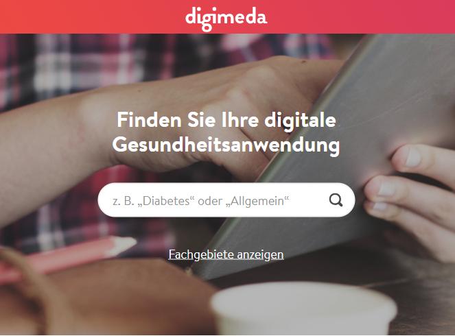 Das Bild zeigt einen Screenshot des Tools digimedia, das einem hilft die passende Gesundheitsanwendung für die individuellen Bedürfnisse zu finden. Bild: Screenshot, digimedia