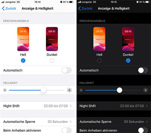 Zwei Screenshots nebeneinander zeigen den hellen Hintergrund und einmal den Dunkelmodus. Bild: Screenshots/Montage PC-SPEZIALIST