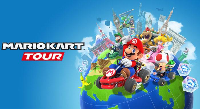 Zu sehen ist eine Grafik zu Mario Kart Tour von Nintendo mit einer Weltkugel und darauf Nintendo-Figuren mit ihren Karts. Bild: Nintendo