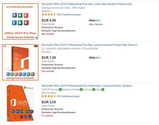 Zu sehen ist ein Screenshot von drei bei ebay angebotenen Microsoft-Produkten. Der Preis ist so niedrig, dass es keine Original-Software sein kann. Bild: Screenshot ebay