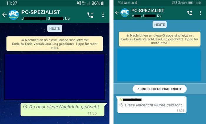 Screenshots von WhatsApp mit gelöschter Nachricht. Bild: Screenshot PC-SPEZIALIST