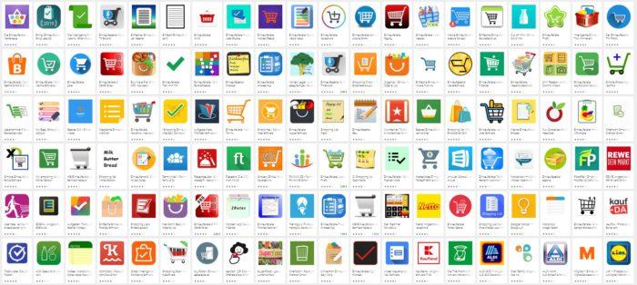 Screenshot mit Einkaufszettel-Apps aus dem Google Play Store. Bild: Screenshot
