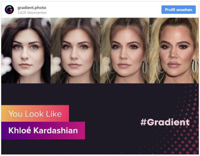 Instagram-Screenshot mit einer Fotomontage, welchem Promi die Person ähnelt. Bild: Screenshot Instagram