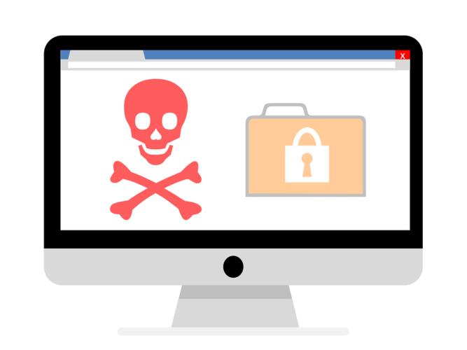 Eine Grafik, bestehend aus einem Bildschirm mit einem Totenkopf und verschlüsselten Dateien. Bild: Pixabay