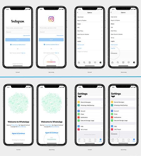 Screenshots von Instagram und WhatsApp, auf denen ein neues Logo für Facebook zu sehen ist. Bilder: Facebook/Montage: PC-SPEZIALIST