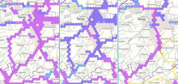 Die Funkloch-App zeigt, wie gut das Netz der unterschiedlichen Anbieter im Örtchen Spenge in Ostwestfalen ist. Bild: Screenshots Breitbandmessung/Montage PC-SPEZIALIST