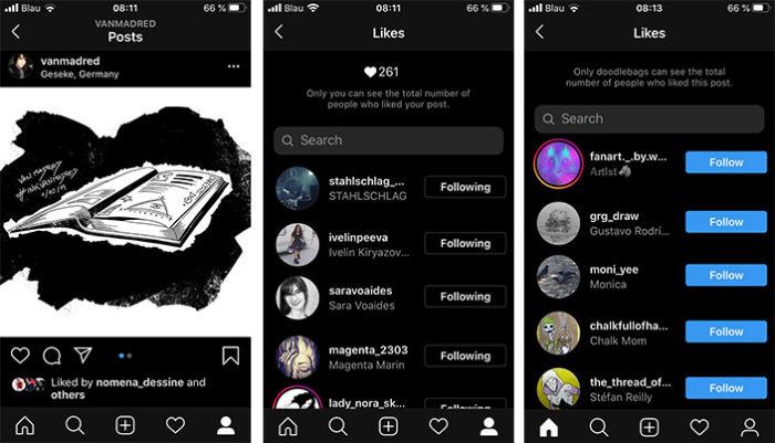 Instagram ohne Likes - gezeigt hier mithilfe von drei Screenshots. Bilder: Screenshots PC-SPEZIALIST