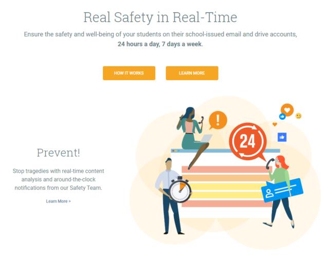 Das Bild zeigt eine Grafik des Unternehmens Gaggle. Das verspricht Echtzeitüberwachung, um bei Auffälligkeiten direkt eingreifen zu können. Bild: Gaggle/Screenshot