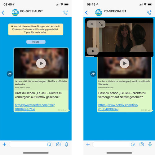 Zu sehen sind zwei Creenshots aus dem WhatsApp-Messengers, in denen ein Netflix-Trailer versendet und abgespielt wird. Bild: PC-SPEZIALIST