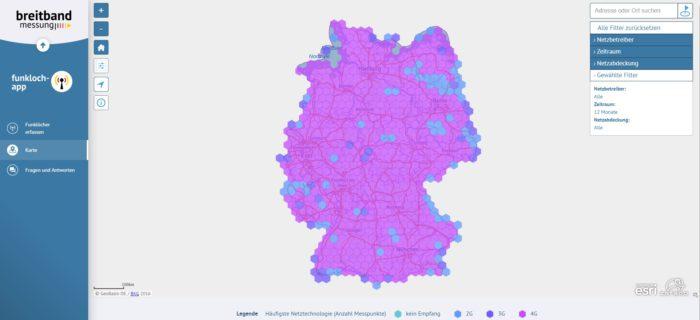 Screenshot der Netzabdeckungs-Karte, basierend auf Daten der Funkloch-App. Bild: Screenshot Breitbandmessung