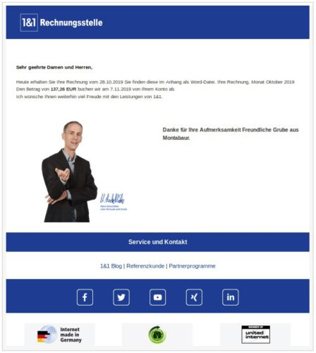 Screenshot der gefälschten 1&1-Rechnung. Bild: Screenshot LKA Niedersachsen