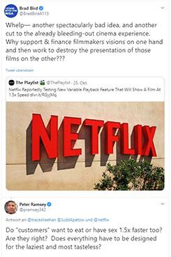 Twitter-Screenshots als Montage mit dem Ärger über die Zeitraffer auf Netflix. Bild: Screenshots Twitter