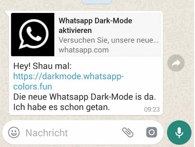 Screenshot von der aktuellen Nachricht zum WhatsApp-Dunkelmodus. Bild: Screenshot