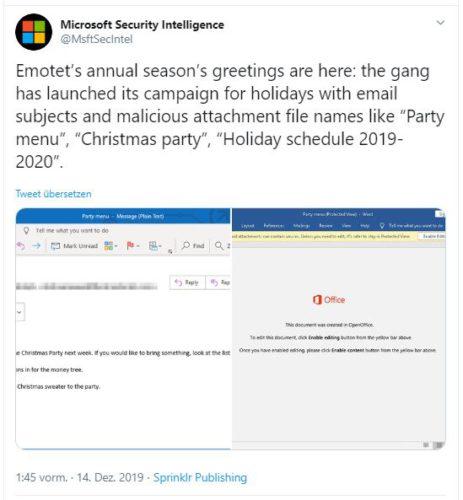 Zu sehen ist der Screenshot eines Twitter-Beitrags des Microsoft-Sicherheitsteams, indem vor Weihnachtsmails gewarnt wird. Bild: Screenshot Twitter