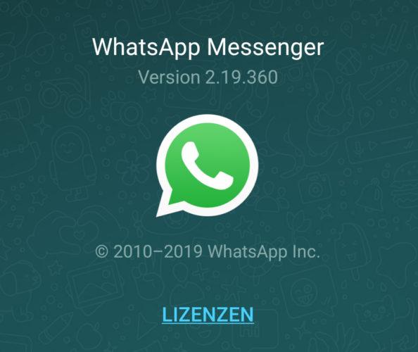 Das Bild zeigt einen Screenshot der WhatsApp-Version, denn die neue WhatsApp-Sicherheitslücke wurde mit einem Update behoben. Bild: Screenshot PC-SPEZIALIST