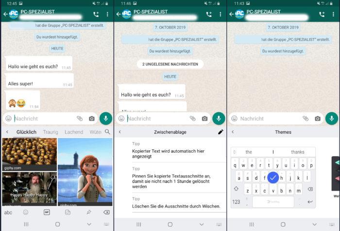 Das Bild zeigt Screenshots der App SwiftKey. Bild: Montage PC-SPEZIALIST