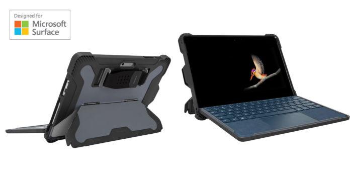 Das Bild zeigt die Surface-Go-Hülle Targus Safeport, die euer Microsoft Surface Go nach allen Arten der Kunst schützt: Sicher und funktional. Bild: Screenshot Targus, Montage PC-SPEZIALIST