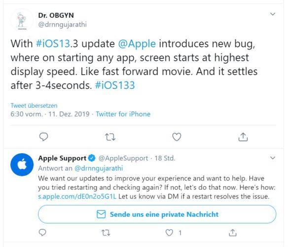 Zu sehen ist ein Screenshot aus Twitter, ein Nutzer berichtet von einem Fehler nach dem Update iOS 13.3. Bild: Screenshot Twitter