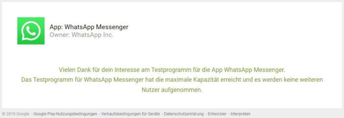 Das Bild zeigt einen Screenshot einer WhatsApp-Meldung, in der erklärt wird, dass keine Plätze mehr verfügbar sind. Bild: WhatsApp/Screenshot PC-SPEZIALIST