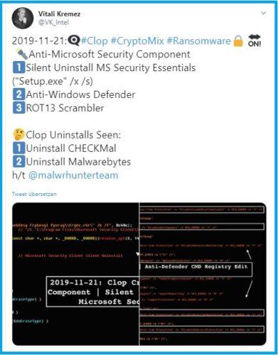 Screenshot der ersten Erkenntnisse über Clop. Screenshot: PC-SPEZIALIST/twitter.com/VK_Intel