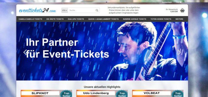 Startseite von Eventtickets24. Bild. Screenshot
