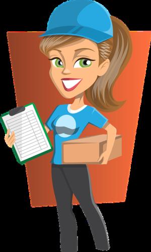 Comiczeichnung einer Frau, die ein Paket abliefern möchte. Paketannahme möglich? Bild: Pixabay