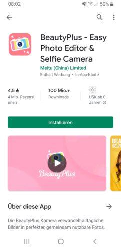 Screenshot aus dem Google Play Store. Die Beauty App steht in der Kritik, weil sie Nutzer ausspioniert. Bild: Screenshot Google Play Store
