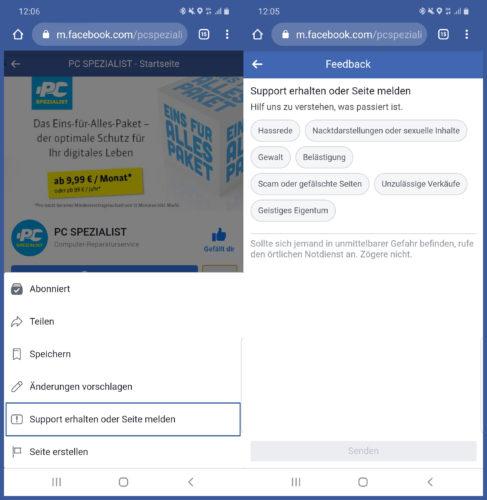 Das Bild zeigt einen Screenshot aus Facebook, in dem gezeigt wird, wie man eine Seite, einen Kommentar oder einen Beitrag melden kann. Diese Aktionen kann man aufgrund der NetzDG machen. Bild: Montage PC-SPEZIALIST