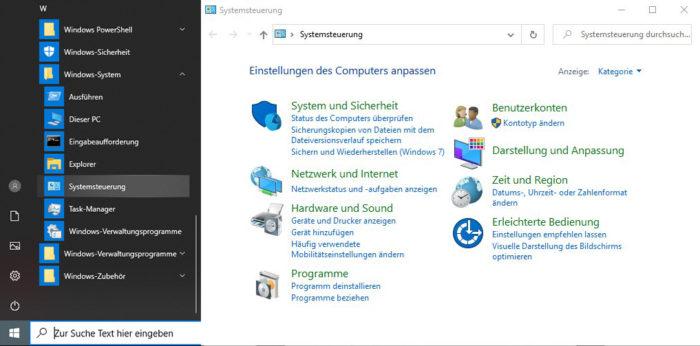 Das Bild zeigt, wo ihr die Systemsteuerung unter Windows 10 findet. Bild: Montage PC-SPEZIALIST