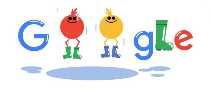 """Wie sieht das Google Doodle heute aus? Am Tag des Gummistiefels bekommen die beiden """"o"""" im Schriftzug Gummistiefel verpasst. Bild: Google"""