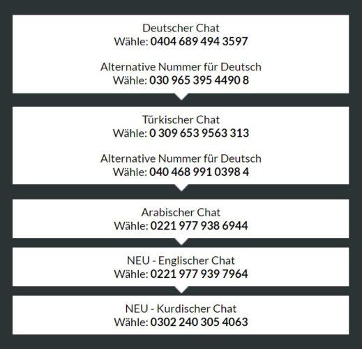 Ist Basechat kostenlos? Der Screenshot zeigt die aktuellen Nummern der verfügbaren Chats. Bild: Screenshot base-chat.de