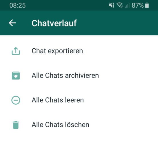 Der Screenshot zeigt die WhatsApp-Chatverlauf Exportfunktion. Bild: Screenshot PC-SPEZIALIST