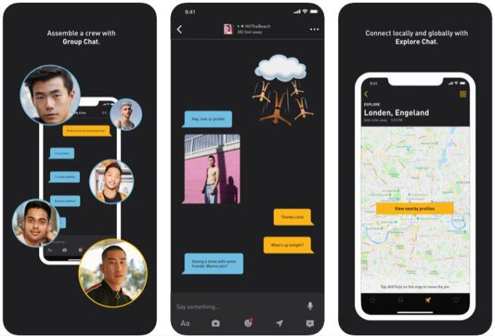 Zu sehen ist ein Screenshot mit drei verschiedenen Ansichten aus der Grindr-App. Bild: Screenshot App Store