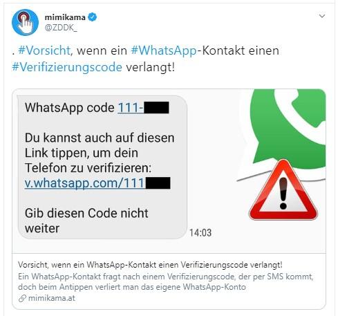 Whatsapp Registrierungscode Angefordert