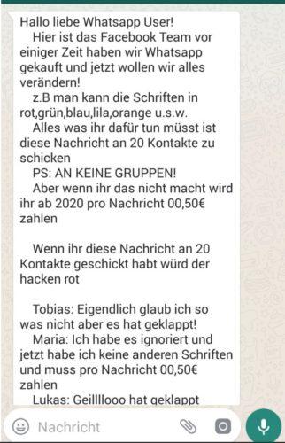 Screenshot der WhatsApp Nachricht, die besagt, dass WhatsApp kostenpflichtig wird. Bild. Screenshot