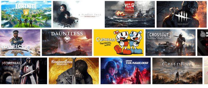 Zu sehen ist ein Screenshot von der Webseite von NVIDIA GeForce NOW mit Bildern verschiedener Videospiele. Bild: Screenshot