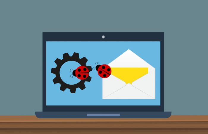 Grafik eines Briefumschlags mit Marienkäfern und einem Zahnrad. Bild: Pixabay