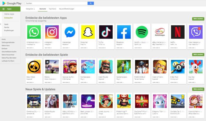 Screenshot des Google Play Store. Ob der Huawei Play Store ähnlich aussehen wird? Bild: Screenshot Google