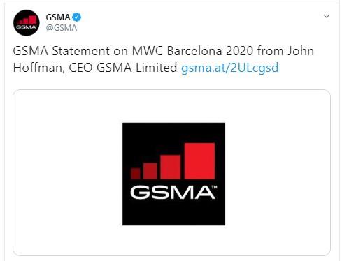 Der Twitter-Screenshot zeigt den Link zu Begründung für den MWC 2020 in Barcelona. Bild: Screenshot