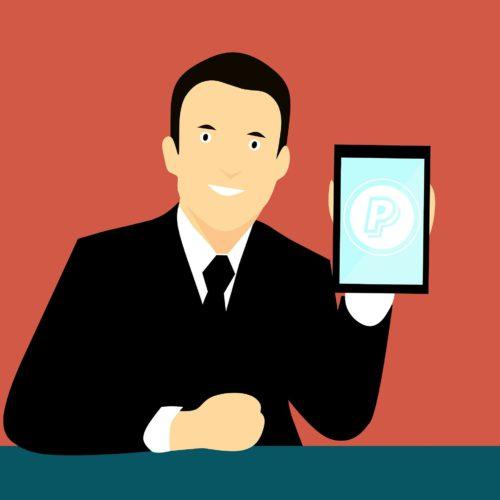 Gezeichnetes Bild zeigt Mann im Anzug mit Handy und PayPal-Logo. Geht es hier um Dreiecksbetrug? Bild: Pixabay