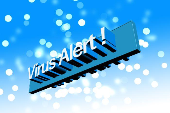 Der Schriftzug Virus-Alert vor blauem Hintergrund. Bild: Pixabay