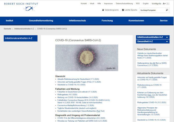 Zu sehen ist ein Screenshot von der Internetseite des Robert Koch-Instituts mit Coronavirus-Nachrichten. Bild: Screenshot Robert Koch-Institut
