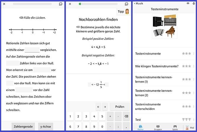 Montage dreier Unterrichtsfächer der Anton Lern-App. Bild: Screenshots/Montage PC-SPEZIALIST