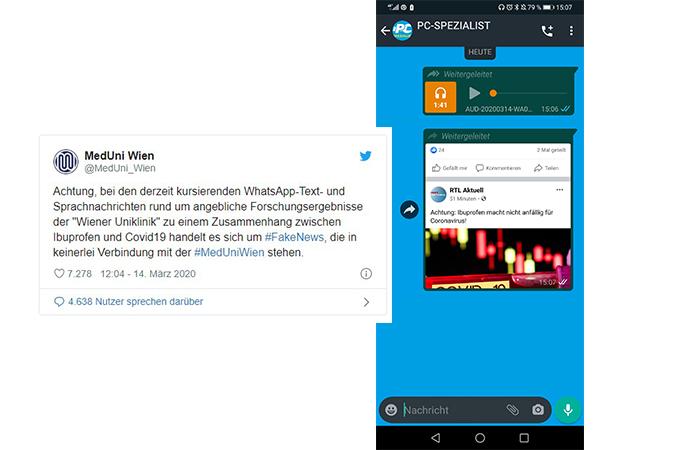 Zu sehen sind ein Handy-Screenshot aus einem WhatsApp-Chat mit einer Sprachnachricht mit falschen Coronavirus-Nachrichten und ein Screenshot einer Twitter-Nachricht der MedUni Wien. Bild: Collage PC-SPEZIALIST