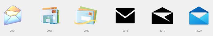 Zu sehen sind sechs Symbole mit einem Briefumschlag – das Icon für Mails. Das Icon ganz rechts gehört zu den neuen Windows 10 Icons. Bild: Microsoft