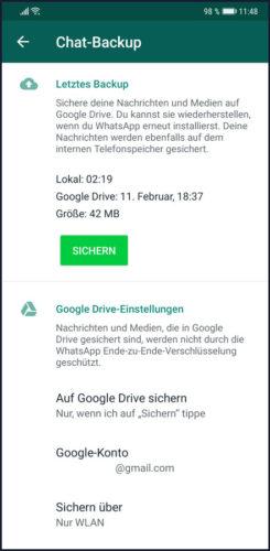 Das Bild zeigt einen Screenshot, auf dem die Funktion WhatsApp sichern in Google Drive abgebildelt ist. Bild: Screenshot PC-SPEZIALST