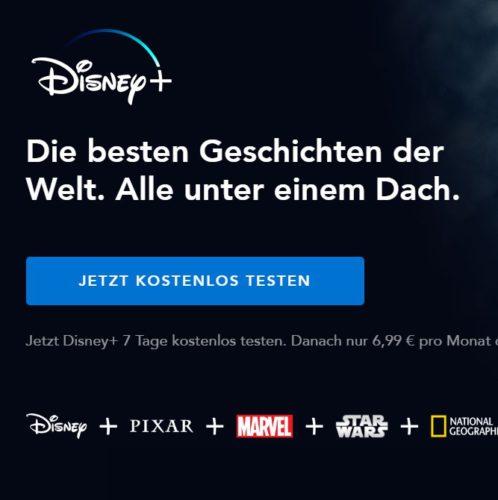 Ihr wollt Disney Plus kündigen? Erst einmal könnt ihr euch auf der Startseite zum Probezeitraum anmelden. Bild: Screenshot Disney+